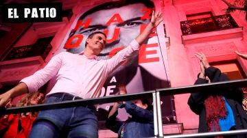Pedro Sánchez en Ferraz tras la victoria electoral