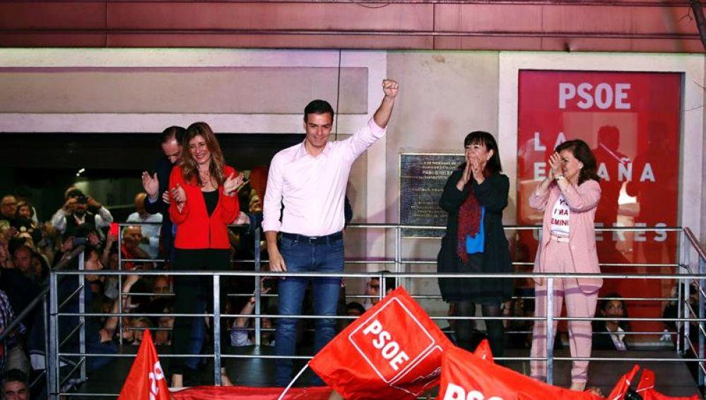 Pedro Sánchez celebra su victoria en las generales