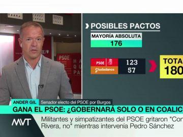 """Ander Gil, tras la victoria socialista en el 28A: """"La tarea no está concluida, hay una segunda vuelta en las autonómicas y municipales"""""""