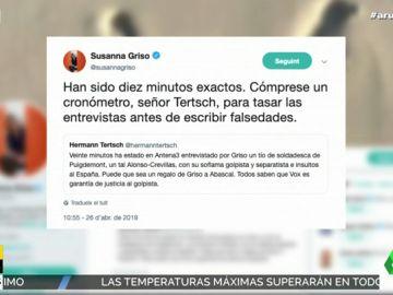 """Susanna Griso, a Tertsch tras acusarle de entrevistar durante 20 minutos a Alonso-Crevillas: """"Cómprese un cronómetro antes de escribir falsedades"""""""