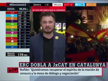 """Gabriel Rufián: """"En Cataluña tenemos claro que al fascismo se le combate y se le destruye"""""""