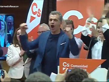 La euforia de Toni Cantó con la tercera posición de Ciudadanos en la Comunidad Valenciana