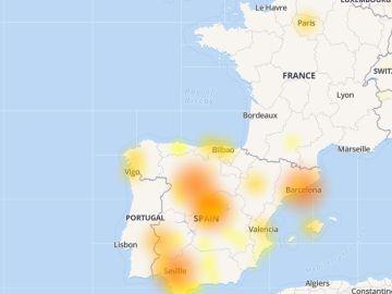 Problemas registrados en Whastapp a las 9.30 horas