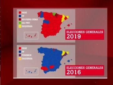Evolución del mapa político de 2016 a 2019
