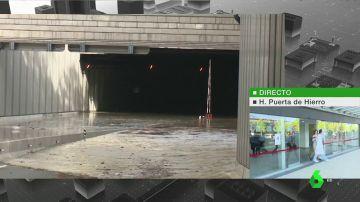 La rotura de una tubería provoca la inundación de una carretera cercana al aeropuerto de Barajas