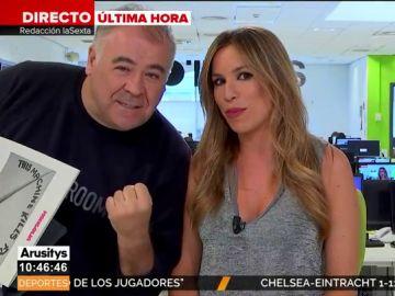 """Ferreras se cuela en el directo de Arusitys para apoyar al Cádiz: """"Vamos Machís"""""""