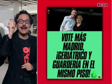 """El cartel electoral que Mongolia propone a Carmena y Errejón: """"Vote Más Madrid, ¡Geriátrico y guardería en el mismo piso!""""."""