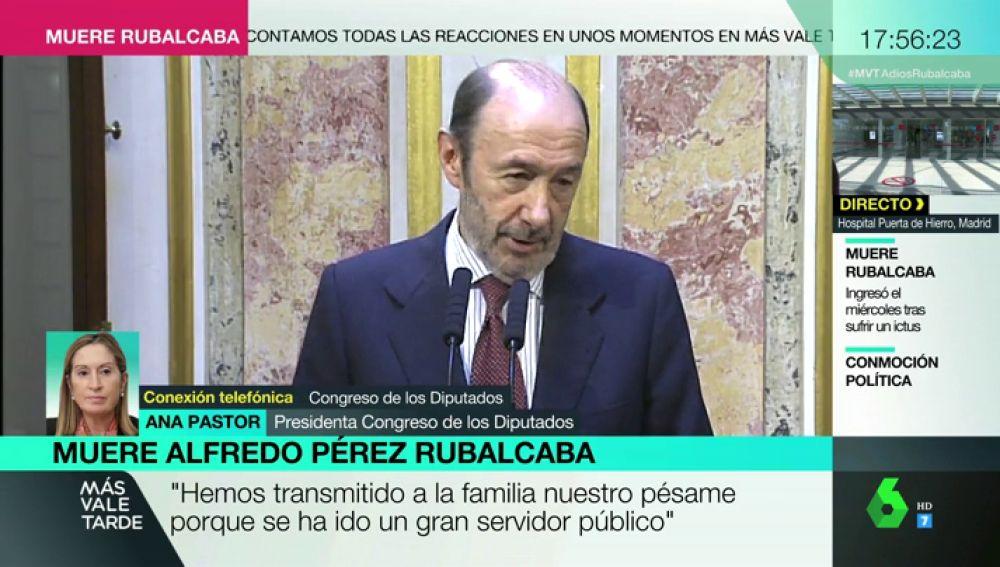 Ana Pastor, presidenta del Congreso, recuerda a Rubalcaba
