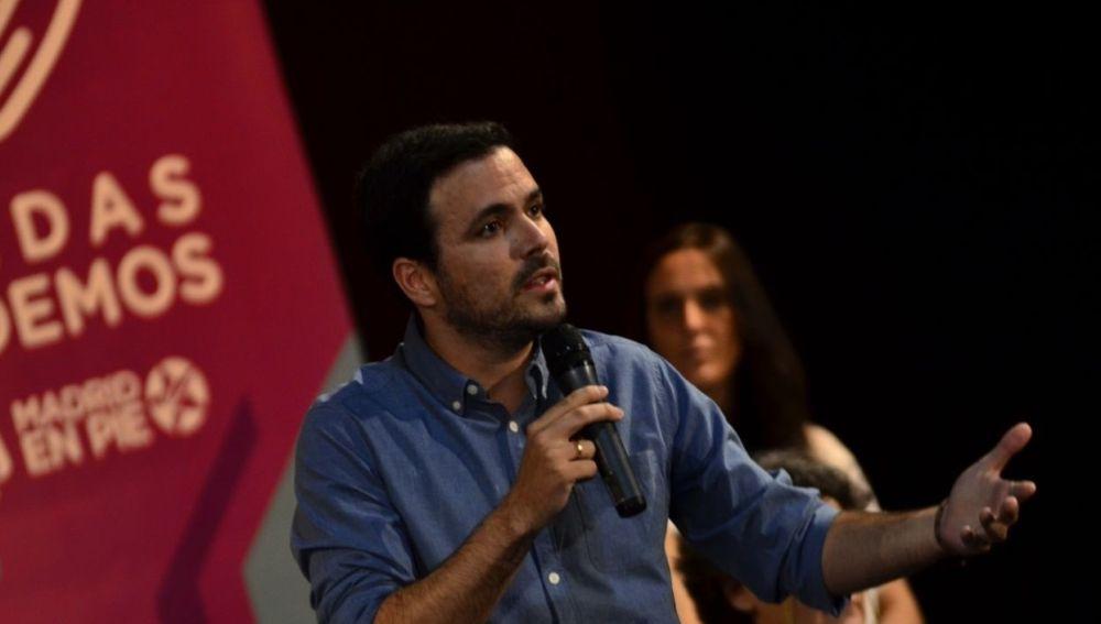 Alberto Garzón durante un acto electoral