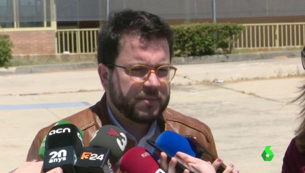 Pere Aragonés ante los medios