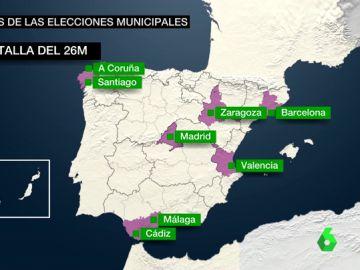 Barcelona, Madrid, Zaragoza, Valencia, Cádiz, Málaga, Santiago y A Coruña: esto es lo que puede pasar tras las municipales