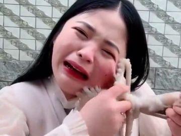 Una 'vlogger' china es atacada por un pulpo cuando se lo intenta comer vivo
