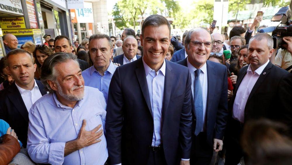 Pedro Sánchez en un acto de campaña del 26M