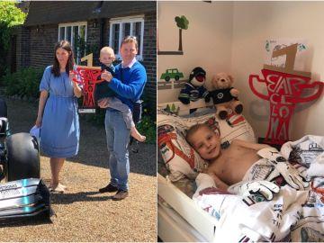 El monoplaza de Hamilton junto a Harry y sus padres en su casa en Surrey