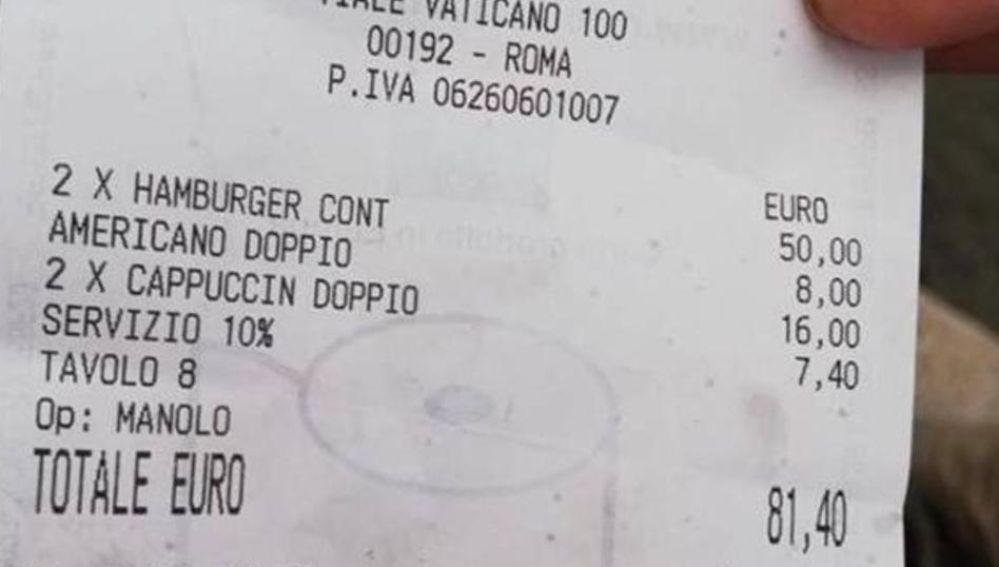 La cuenta denunciada por dos turistas en Roma