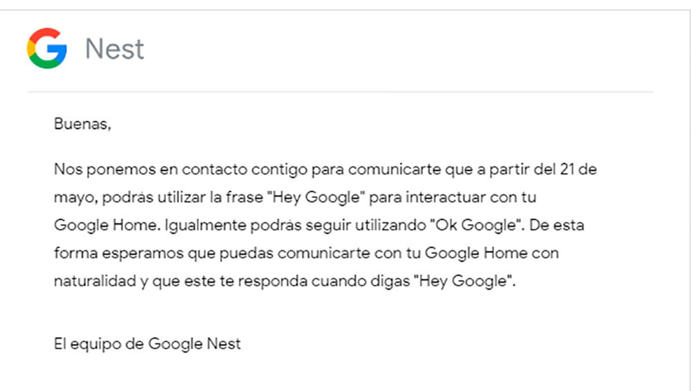 Mensaje de Google Nest