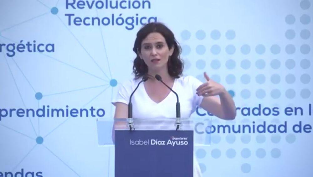 """Díaz Ayuso (PP) carga contra el PSOE: """"Necesitan multiplicar la pobreza para vivir de ella"""""""