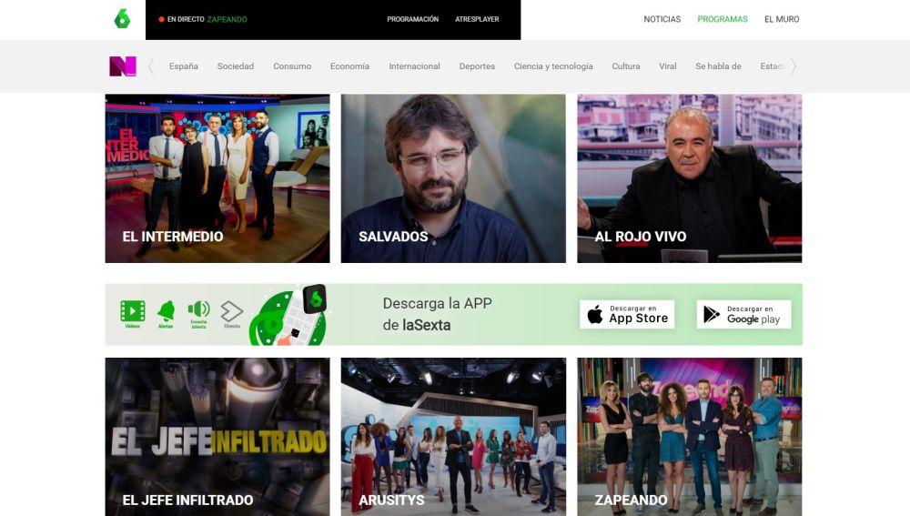 Imagen de la página web de laSexta
