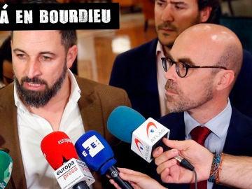Santiago Abascal, líder de Vox, con el candidato europeo Jorge Buxadé
