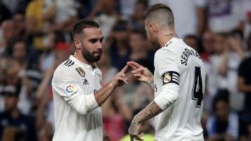 Carvajal y Sergio Ramos, durante un partido con el Real Madrid