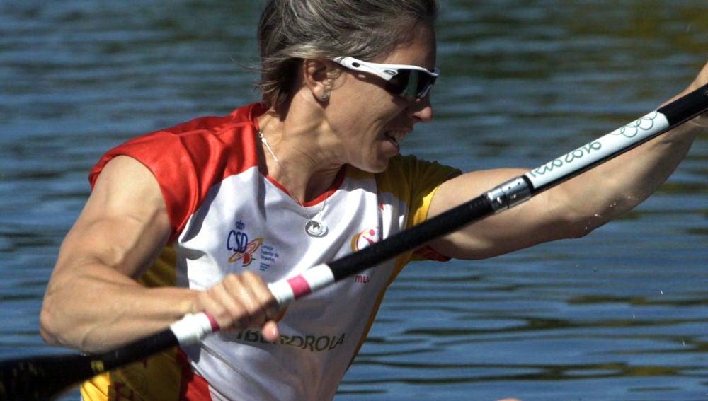 Teresa Portela durante un entrenamiento en Pontevedra.