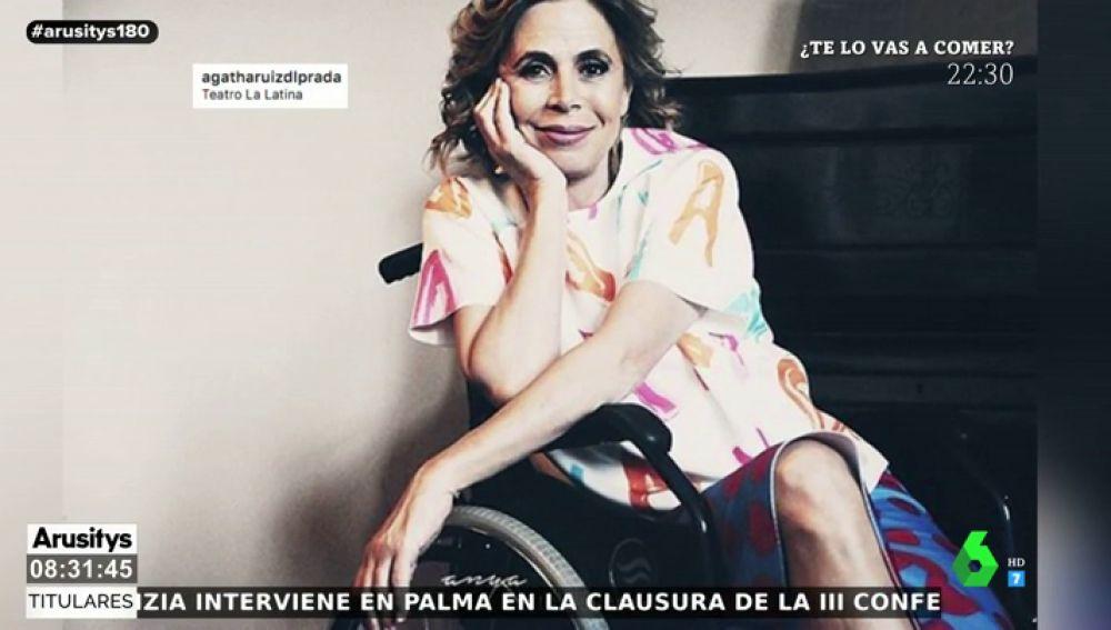 Ágatha Ruiz de la Prada, en silla de ruedas tras sufrir un accidente de moto