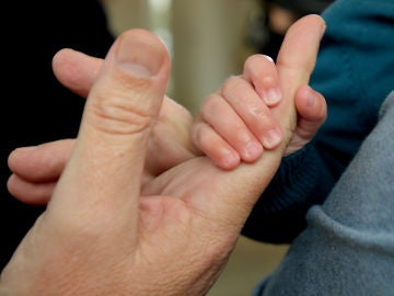 Las manos de un adulto y un bebé