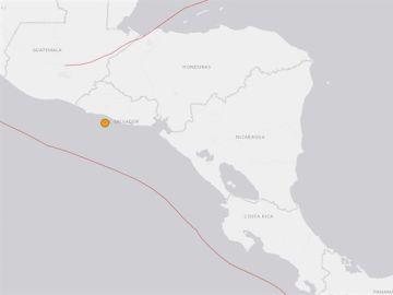 Mapa señalando El Salvador