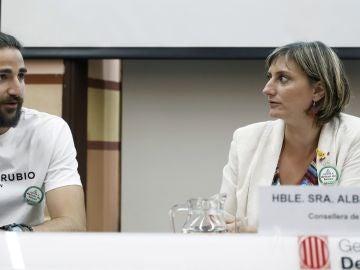 La consellera de Salud, Alba Vergés, y el jugador de la NBA Ricky Rubio