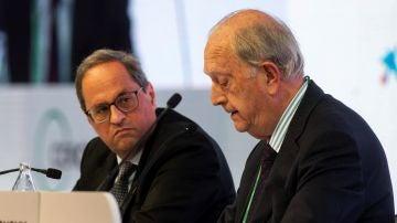 El presidente de la Generalitat, Quim Torra,acompañado por el presidente del Círculo de Economía, Juan José Bruguera
