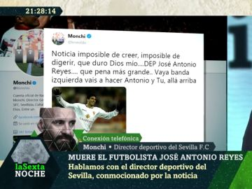 """El emotivo recuerdo de Monchi a José Antonio Reyes: """"Era el típico compañero de vestuario que siempre sumaba"""""""