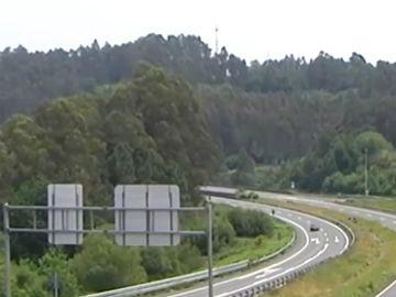 Imagen de la zona donde ha ocurrido un accidente por un kamikaze en A Coruña