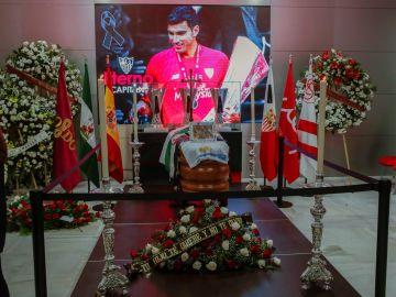 Cardiente de Reyes instalada en el antepalco del estadio Ramón Sánchez-Pizjuán de Sevilla