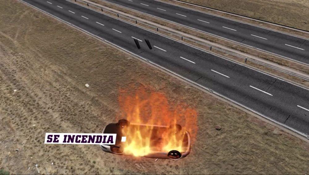 Así fue el accidente mortal de reyes: el coche acabó ardiendo a 200 metros de la carretera
