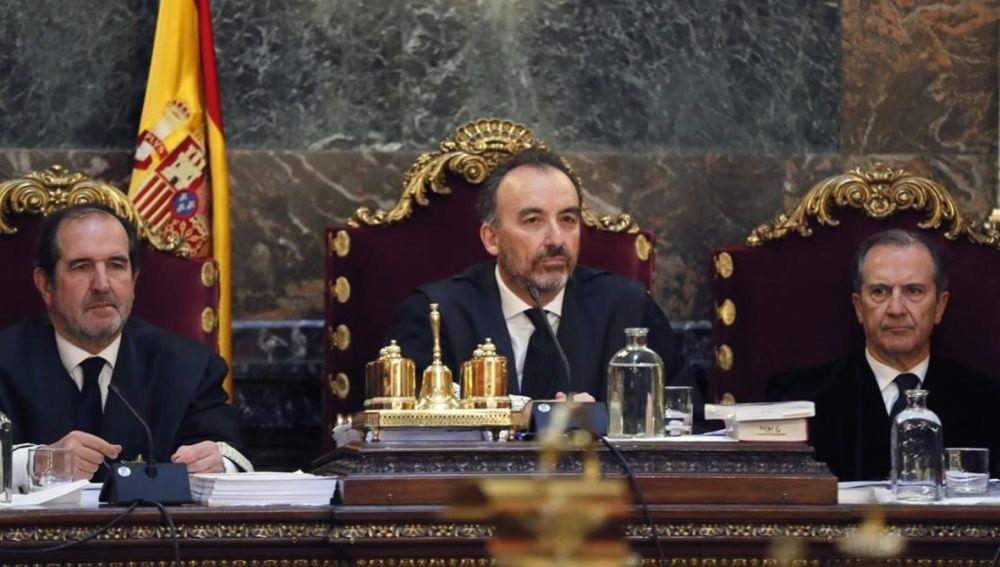 Los tres magistrados del Tribunal Supremo, Andrés Martínez Arrieta, Manuel Marchena y Miguel Colmenero.