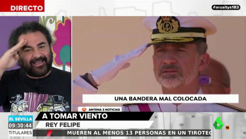 """El Sevilla analiza el enfado del rey Felipe por el mal izado de la bandera: """"Está hasta las pelotas"""""""