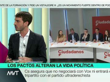 """Pablo Simón: """"En algunos sitios Ciudadanos puede obtener mayoría tanto con el PP como con el PSOE, en otros tendrá que incluir a Vox"""""""