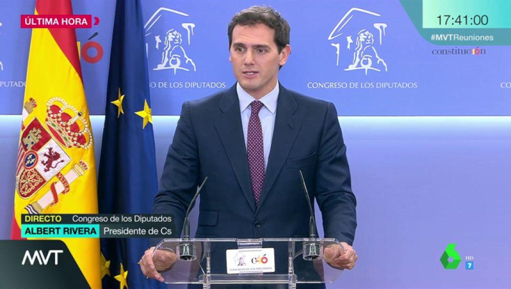 """Albert Rivera, tras su reunión con Sánchez: """"Estamos en la oposición, no apoyaremos esta investidura"""""""