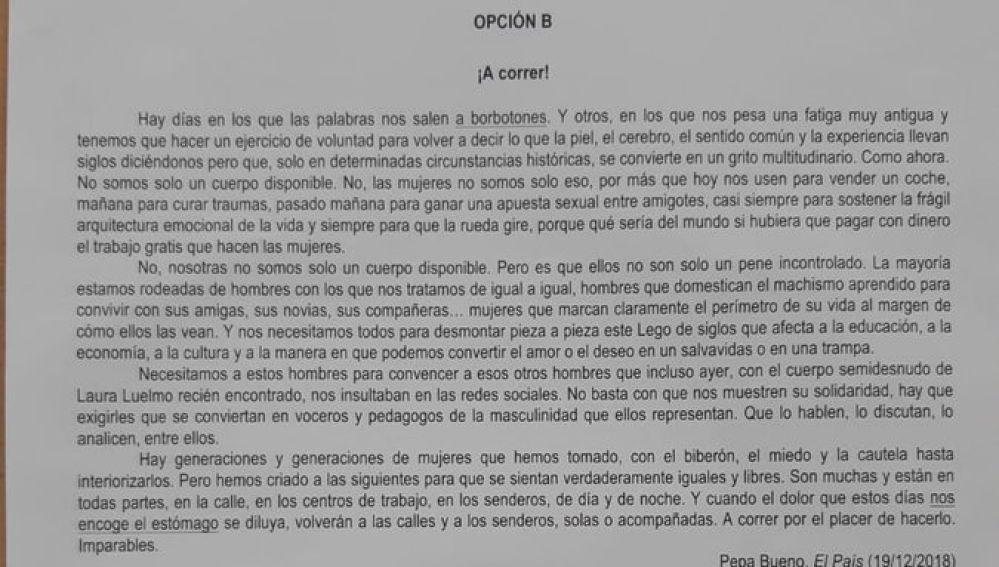 Imagen del texto de Pepa Bueno en el examen de Selectividad de Andalucía
