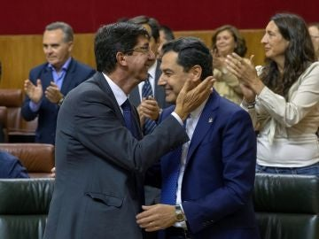 El presidente andaluz, Juanma Moreno (PP) y el vicepresidente, Juan Marín (Cs)