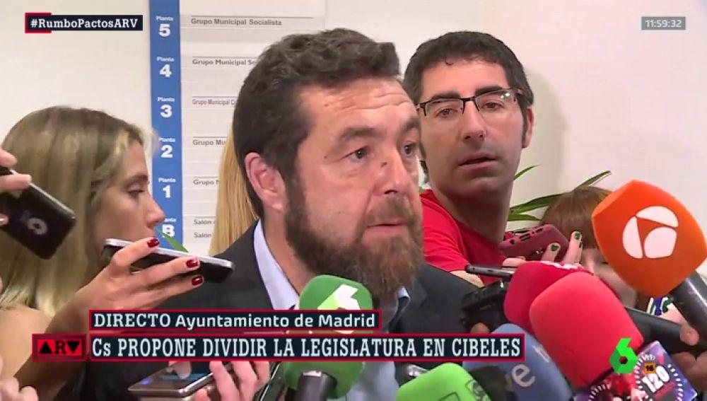 """Miguel Gutiérrez (Cs): """"Hemos llegado a un principio de acuerdo con el PP para revertir las malas políticas de Carmena"""""""