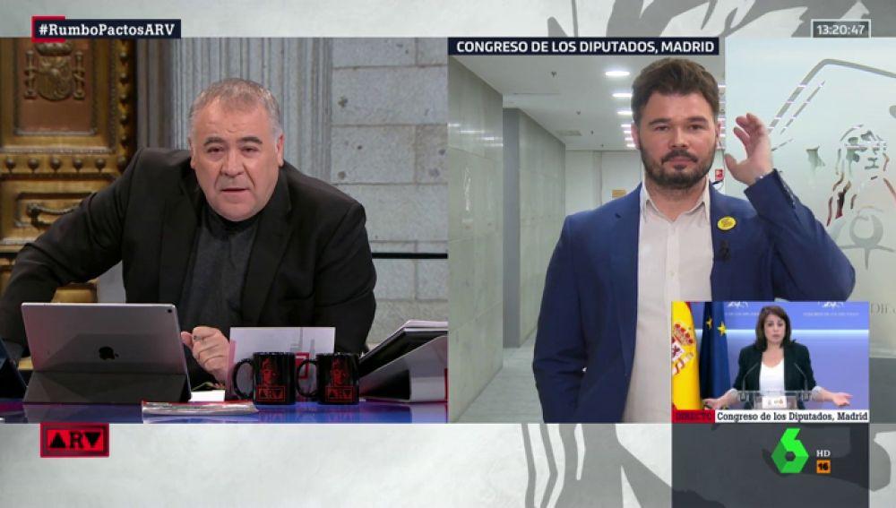 """Rufián (ERC) critica que Colau se apoye en Valls y """"acepte los votos de quien deportó a 10.000 personas en Francia"""""""