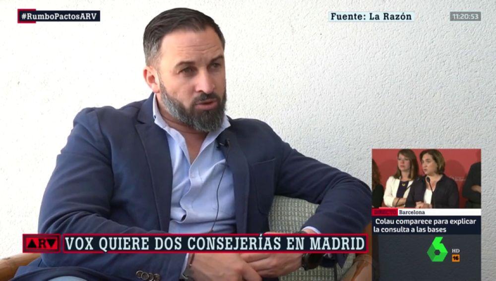 """Santiago Abascal presiona a PP y Ciudadanos en Madrid: """"Si tienen cuatro consejerías, Vox debe tener dos"""""""