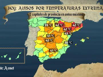 Previsión de temperaturas para este viernes 28 de junio