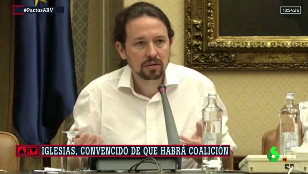 """Iglesias, convencido de que habrá coalición: """"Estoy convencido de que Sánchez no obligará a votar otra vez por una obsesión"""""""