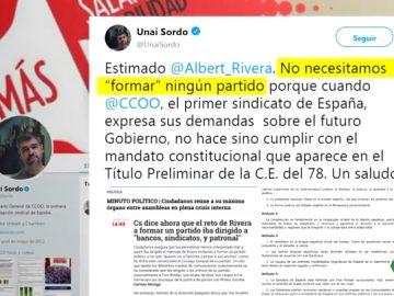 """Unai Sordo responde a Albert Rivera: """"No necesitamos 'formar' ningún partido"""""""