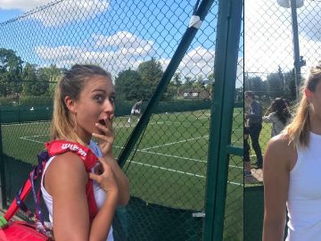 Paula Badosa, junto a Federer en Wimbledon