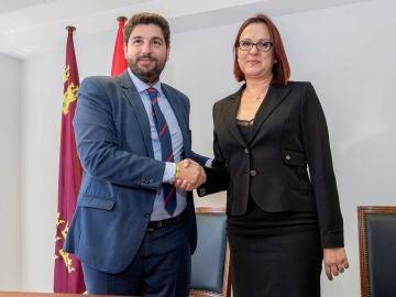 Fernando López Miras y la diputada de Ciudadanos Isabel Franco,