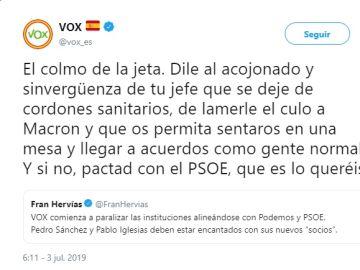 """Vox califica a Albert Rivera como un """"acojonado y sinvergüenza"""": """"Que deje de lamerle el culo a Macron"""""""