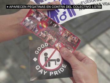 Pegatinas homófobas lucen en diversos municipios de Madrid en plena semana del Orgullo LGTBI